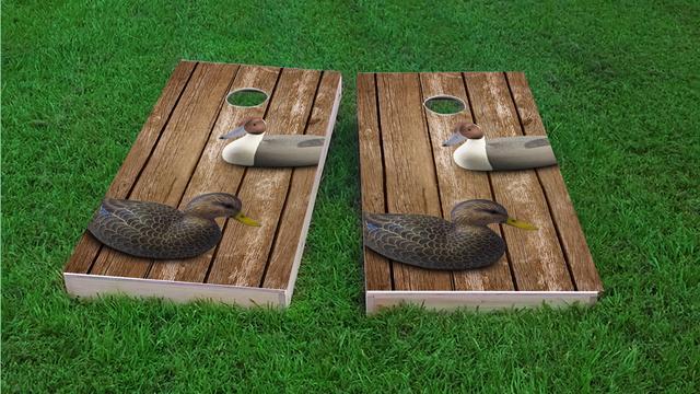 Wood Slat Duck Decoy Themed Custom Cornhole Board Design