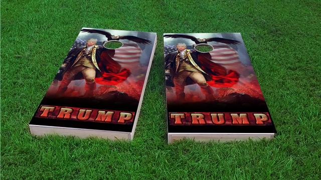 Patriotic Trump Revere Eagle Background Themed Custom Cornhole Board Design