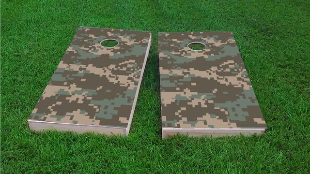 Digital Pixelated Camouflage Themed Custom Cornhole Board Design