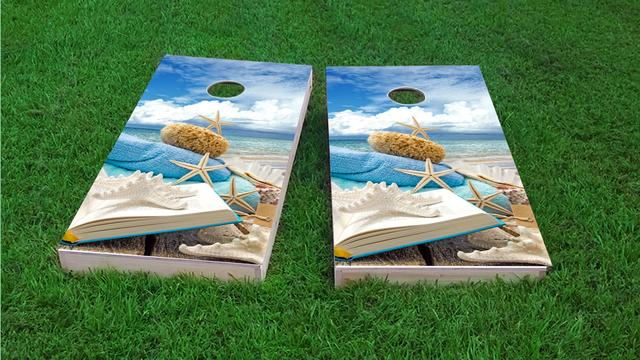 Star Fish Beach  Themed Custom Cornhole Board Design