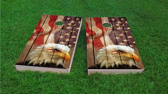 Weathered Woodslatt American Bald Eagle Themed Custom Cornhole Board Design