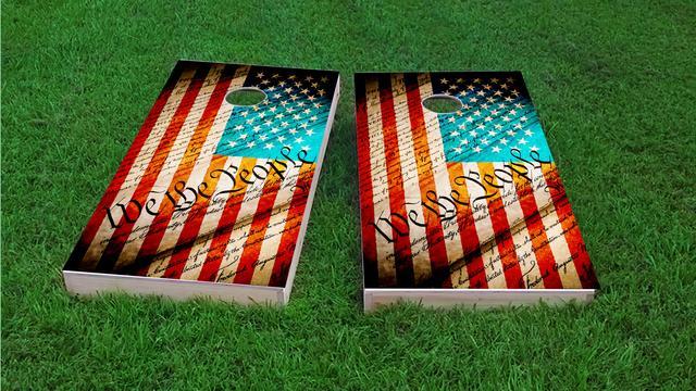 Worn American Flag (We The People) Themed Custom Cornhole Board Design