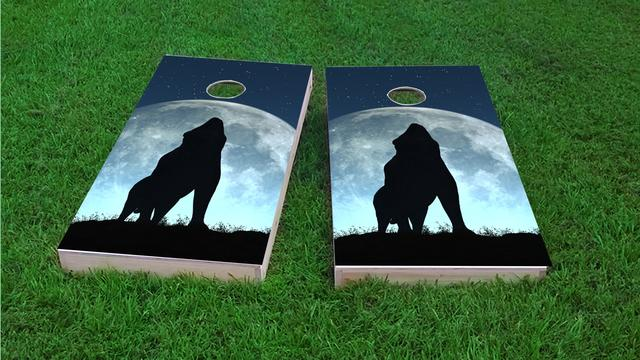 Wofl Howling to a Full Moon Themed Custom Cornhole Board Design