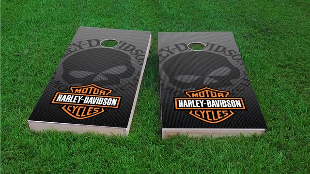 Harley Davidson Gradient Skull Themed Custom Cornhole Board Design