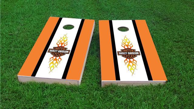 Harley Davidson Long Stripe Themed Custom Cornhole Board Design