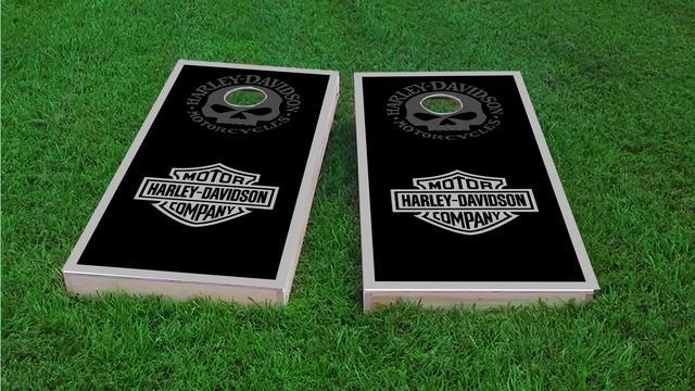 Harley Davidson Black and Gray Themed Custom Cornhole Board Design