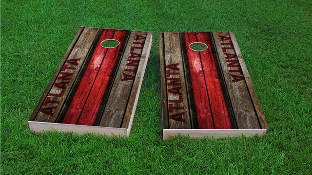 Woodslat Worn Atlanta Football Themed Custom Cornhole Board Design