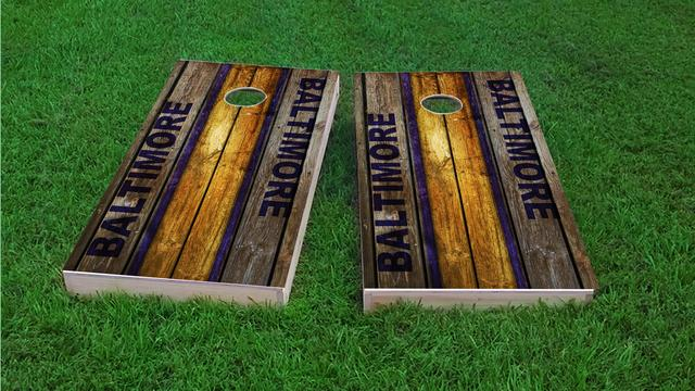Woodslat Worn Baltimore Football Themed Custom Cornhole Board Design