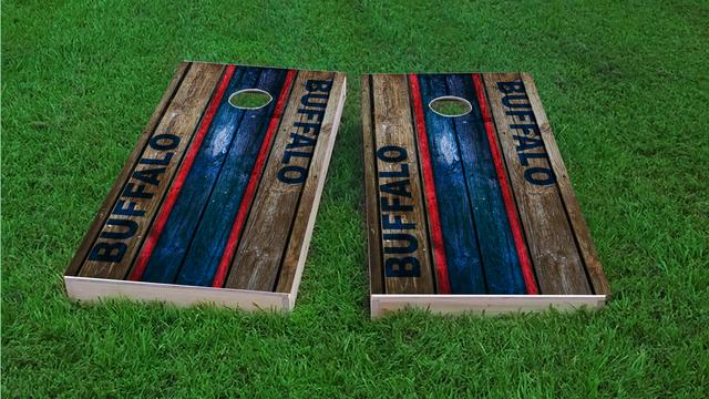 Woodslat Worn Buffalo Football Themed Custom Cornhole Board Design