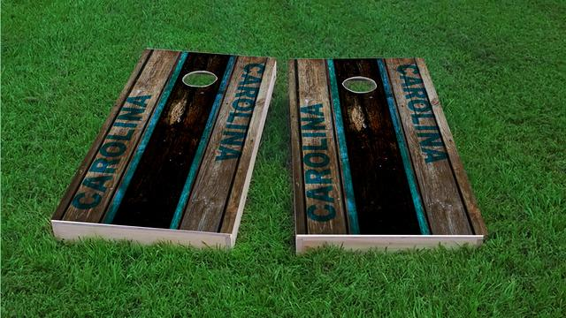 Woodslat Worn Carolina Football Themed Custom Cornhole Board Design