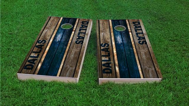 Woodslat Worn Dallas Football Themed Custom Cornhole Board Design