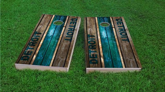 Woodslat Worn Detroit Football Themed Custom Cornhole Board Design