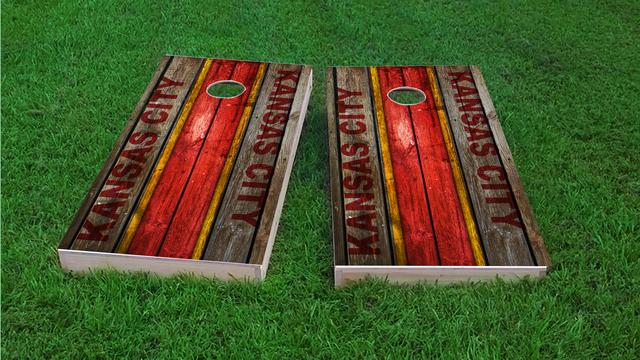 Woodslat Worn Kansas City Football Themed Custom Cornhole Board Design