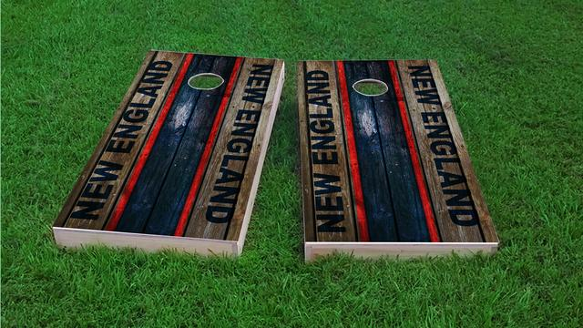 Woodslat Worn New England Football Themed Custom Cornhole Board Design
