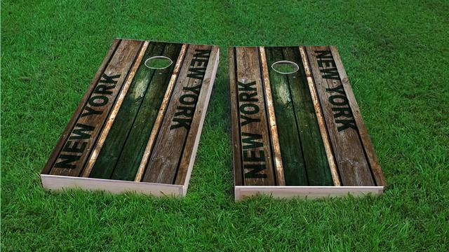 Woodslat Worn New York 2 Football Themed Custom Cornhole Board Design