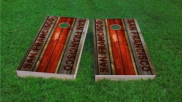 Woodslat Worn San Francisco Football Themed Custom Cornhole Board Design