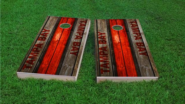 Woodslat Worn Tampa Bay Football Themed Custom Cornhole Board Design