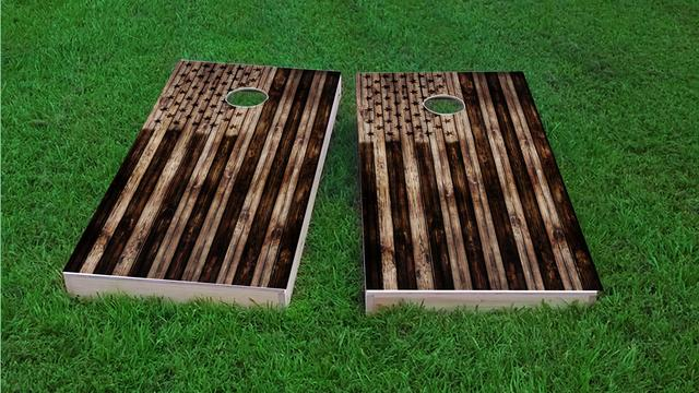 American Flag Burned Wood Look Themed Custom Cornhole Board Design