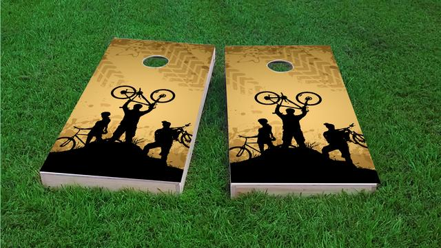 Mountain Biking Themed Custom Cornhole Board Design