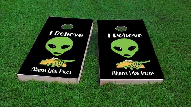 Aliens Like Tacos Themed Custom Cornhole Board Design