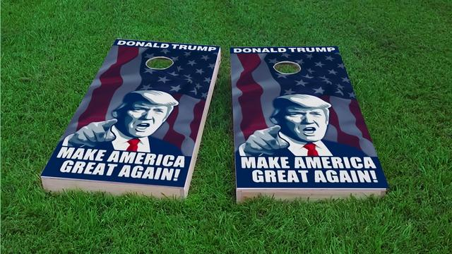 President of the United States Donald Trump Themed Custom Cornhole Board Design