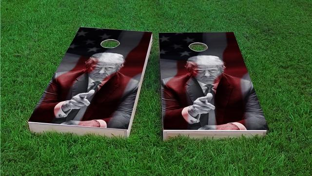 President Trump American Flag Themed Custom Cornhole Board Design