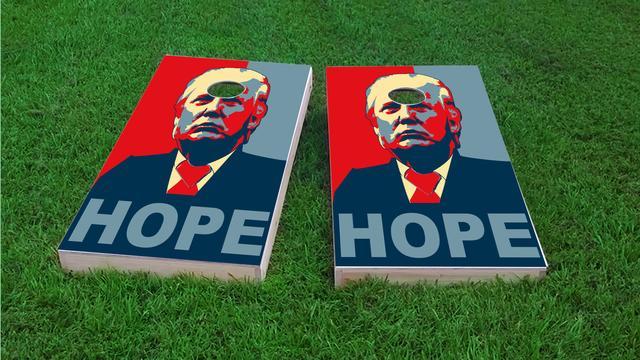 Trump Hope Themed Custom Cornhole Board Design