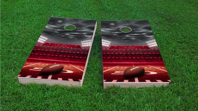 Arizona Football Themed Custom Cornhole Board Design