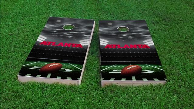 Atlanta Football Themed Custom Cornhole Board Design