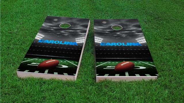 Carolina Football Themed Custom Cornhole Board Design