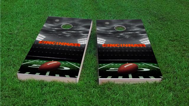 Cincinnati Football Themed Custom Cornhole Board Design