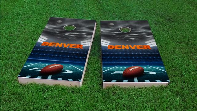 Denver Football Themed Custom Cornhole Board Design
