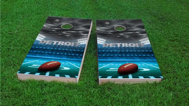 Detroit Football Themed Custom Cornhole Board Design