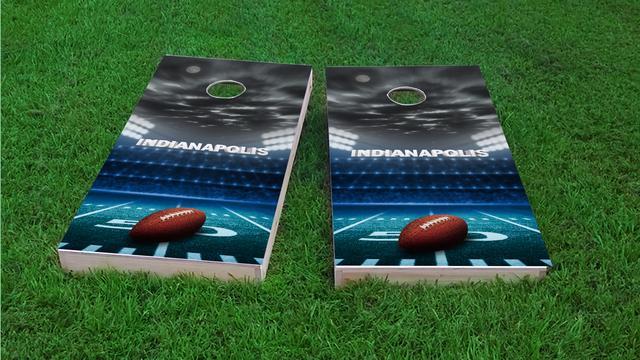 Indianapolis Football Themed Custom Cornhole Board Design