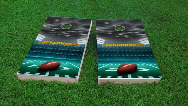 Jacksonville Football Themed Custom Cornhole Board Design