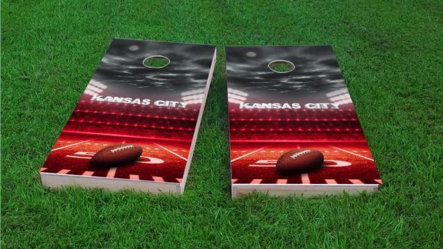 Kansas City Football Themed Custom Cornhole Board Design