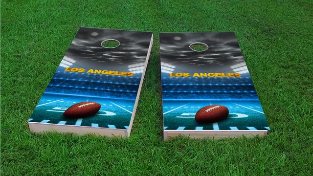 Los Angeles 2 Football Themed Custom Cornhole Board Design