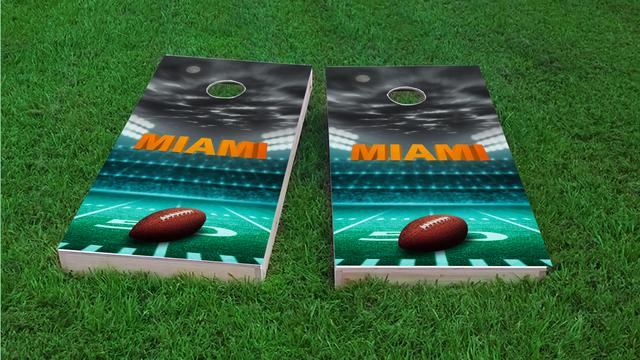 Miami Football Themed Custom Cornhole Board Design