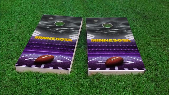 Minnesota Football Themed Custom Cornhole Board Design