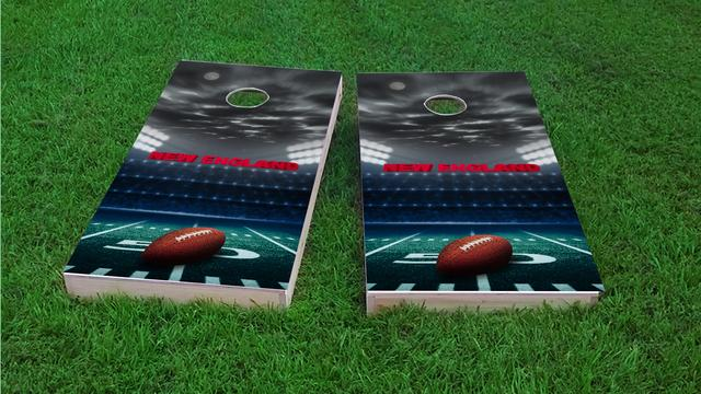 New England Football Themed Custom Cornhole Board Design