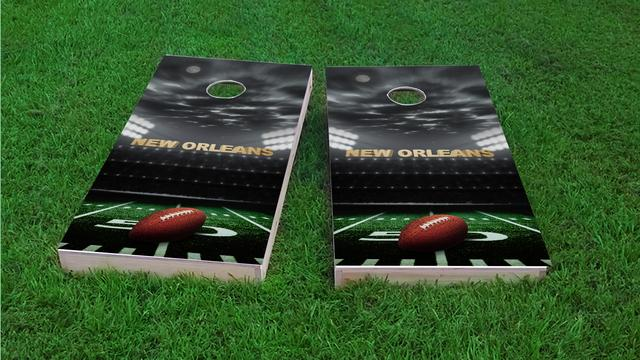 New Orleans Football Themed Custom Cornhole Board Design