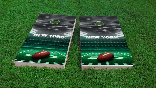 New York 2 Football Themed Custom Cornhole Board Design
