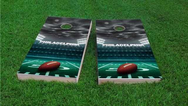 Philadelphia Football Themed Custom Cornhole Board Design
