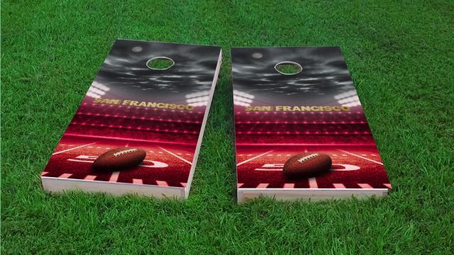 San Francisco Football Themed Custom Cornhole Board Design
