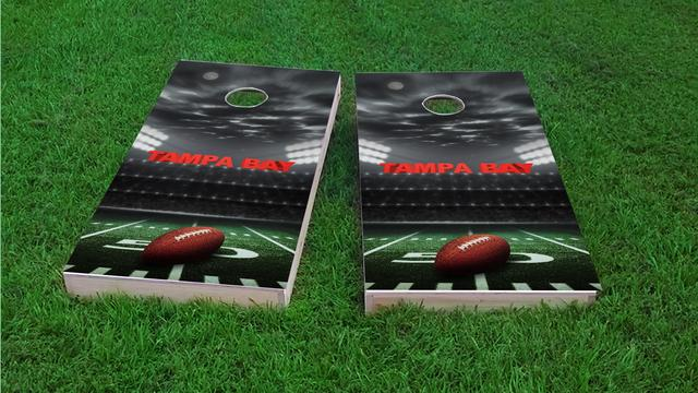 Tampa Bay Football Themed Custom Cornhole Board Design