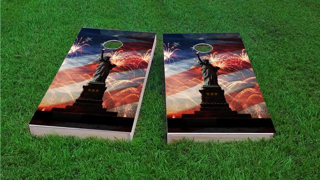 American Flag, Fireworks & Lady Liberty Themed Custom Cornhole Board Design