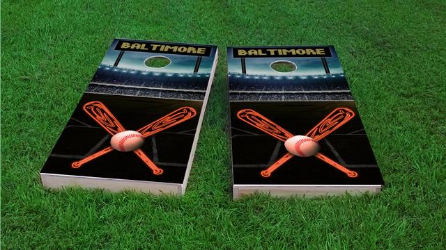 Baltimore Baseball Themed Custom Cornhole Board Design