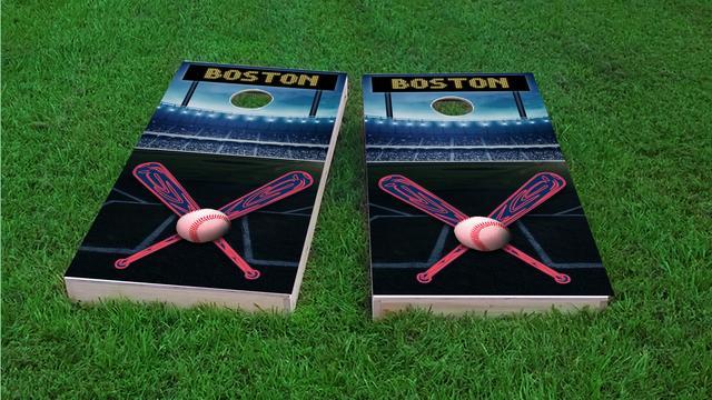Boston Baseball Themed Custom Cornhole Board Design