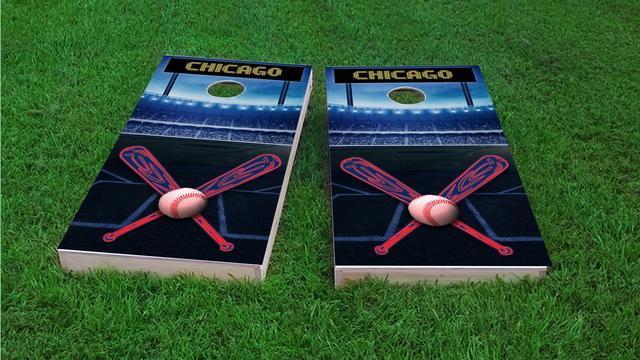 Chicago 1 Baseball Themed Custom Cornhole Board Design