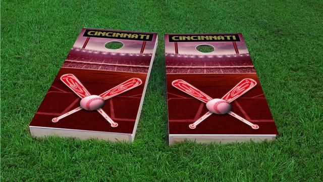 Cincinnati Baseball Themed Custom Cornhole Board Design